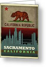 Sacramento City Skyline State Flag Of California Art Poster Series 023 Greeting Card