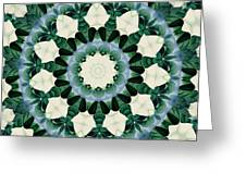Sacramento Green And Cerulean Blue Mandala Greeting Card