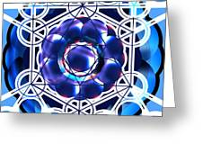 Sacred Geometry Blue Shapes Background Greeting Card