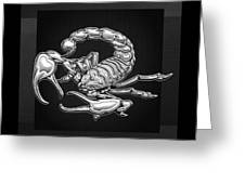 Sacred Silver Scorpion On Black Canvas Greeting Card