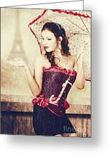 Sad French Pin-up Woman. Loss In The City Of Love Greeting Card
