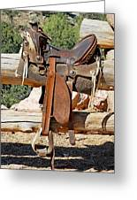 Saddle On Ranch Fence Greeting Card