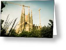 Sagrada Familia With Catalonia's Flag Greeting Card