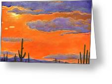 Saguaro Sunset Greeting Card by Johnathan Harris