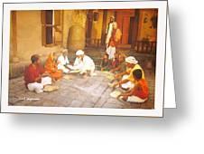 Saibaba Serves Food To Village People Greeting Card