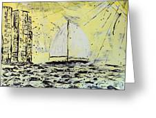 Sail And Sunrays Greeting Card by J R Seymour