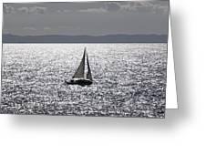 Sail Boat In A Sea Of Diamonds  Greeting Card