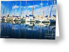 Sail Boats In Port Greeting Card