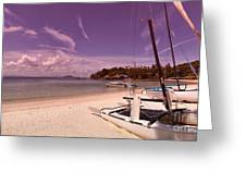 Sail Boats On Tropical Beach Greeting Card