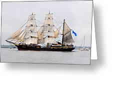 Sail Boston Picton Castle And Jolie Brise Greeting Card