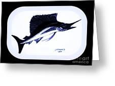 Sail Fish In Black And White Watercolor Greeting Card