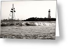 Sailboat And Lighthouse 2 Greeting Card by Marilyn Hunt
