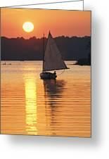 Sailboat And Sunset, South River Greeting Card