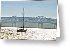 Sailboat And The Tappan Zee Bridge Greeting Card