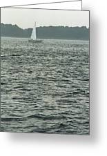 Sailboat And Waves, Piscataqua River, Maine 2004 Greeting Card