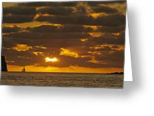 Sailboat As The Sun Sets Greeting Card