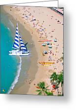 Sailboat At Waikiki Greeting Card
