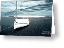 Sailboat Blue Infrared Greeting Card