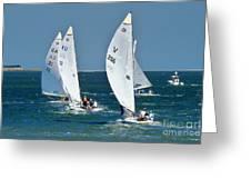 Sailboat Championship Racing 5 Greeting Card