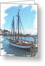 Sailboat Docked In Camden Greeting Card