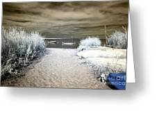 Sailboat Entry Infrared Brown Greeting Card by John Rizzuto