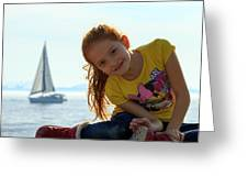 Sailboat Girl Greeting Card