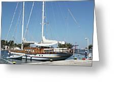 Sailboat In Harbor Summer Vacation Scene Greeting Card