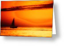 Sailboat In Orange Greeting Card