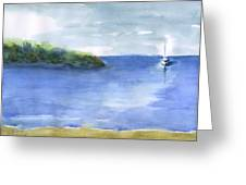 Sailboat In Still Waters Greeting Card