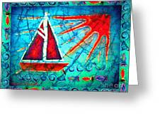 Sailboat In The Sun Greeting Card