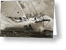 Sailboat Le Pingouin Open 60 Sepia Greeting Card by Dustin K Ryan
