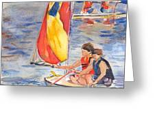 Sailboat Painting In Watercolor Greeting Card