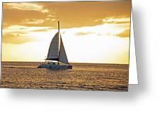 Sailboat Sailing Off Of Anse Chastanet At Sunset Saint Lucia Caribbean  Greeting Card