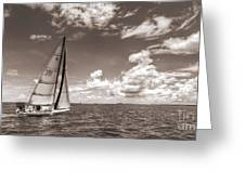Sailboat Sailing On The Charleston Harbor Sepia Beneteau 40.7 Greeting Card by Dustin K Ryan