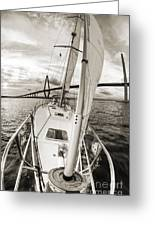 Sailboat Sailing Past Arthur Ravenel Jr Bridge Charleston Sc Greeting Card