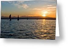 Sailboat Sillohette Sunset Greeting Card