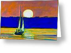 Sailboat With Moonlight Greeting Card