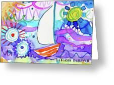 Sailboat With Sun Greeting Card