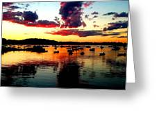 Sailboats And Sunset Sky In Hingham, Ma Greeting Card