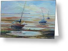 Sailboats At Low Tide Near Nelson, New Zealand Greeting Card