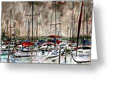 Sailboats At Night Greeting Card