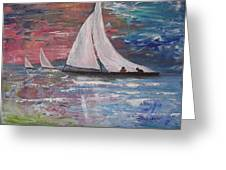 Sailboats At Sunrise Greeting Card