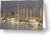 Sailboats Docked In The Santa Barbara Greeting Card