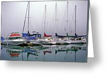 Sailboats In The Fog Greeting Card