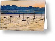 Sailboats Moored Clouds Front Ocean Sea Lake Greeting Card