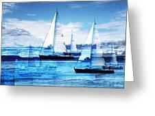 Sailboats Greeting Card by MW Robbins