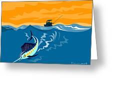 Sailfish Fishing Boat Greeting Card