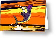 Sailfish Jumping Retro Greeting Card