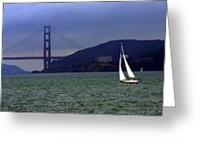 Sailing And The Golden Gate  Greeting Card