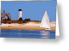 Sailing Around Sandy Neck Lighthouse Greeting Card